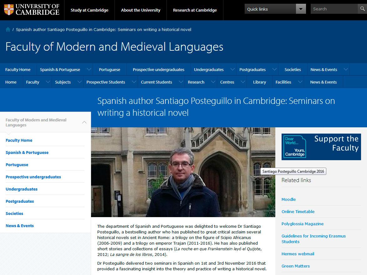 Seminarios impartidos por Santiago Poasteguillo en Cambridge