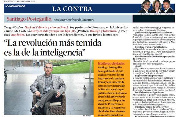 Santiago Posteguillo en La Contra de La Vanguardia