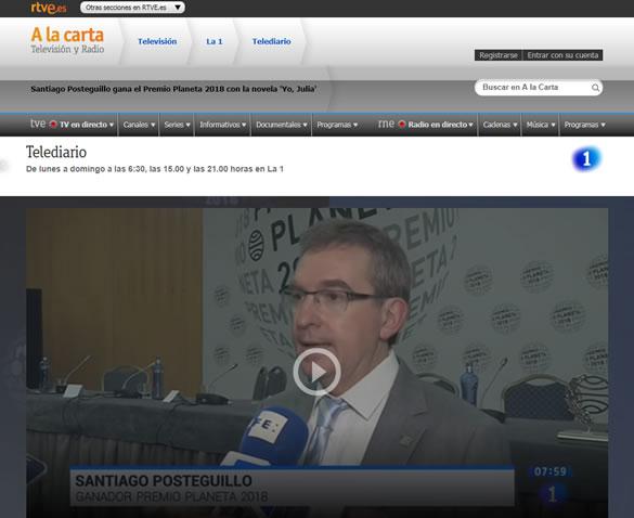 Santiago Posteguillo ganador premio planeta 2018 - RTVE