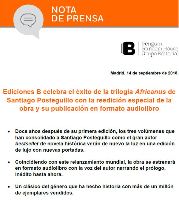 nota de prensa - Africanus