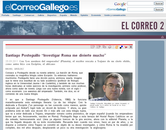 Santiago Posteguillo entrevista El Correo Gallego