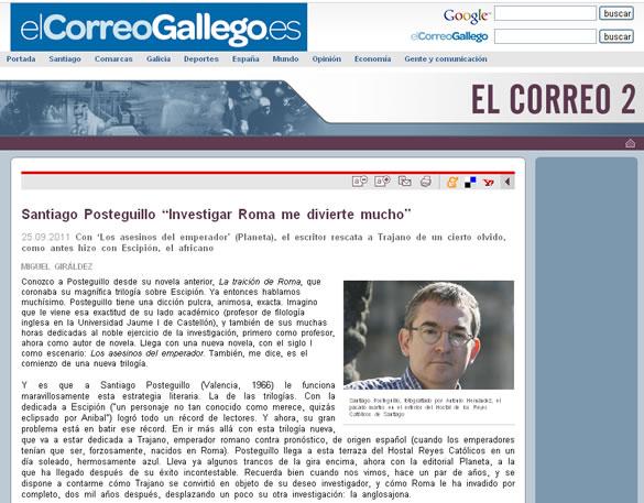 Santiago Posteguillo entrevista El Correo Gallego