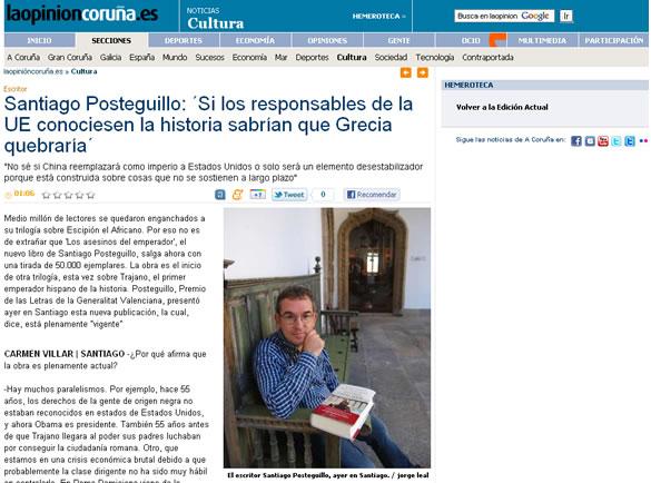 Santiago Posteguillo entrevistado por La Opinión A Coruña