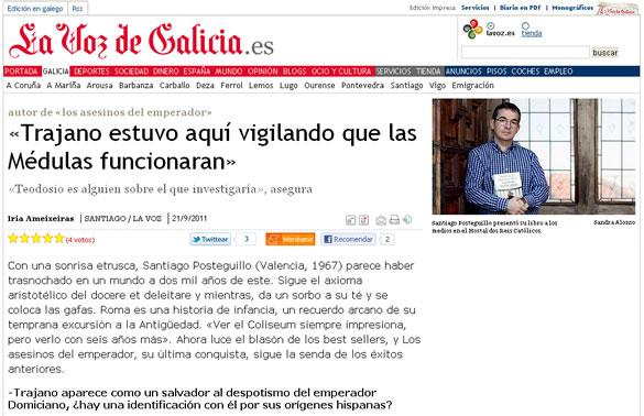 Santiago Posteguillo entrevistado por La Voz de Galicia