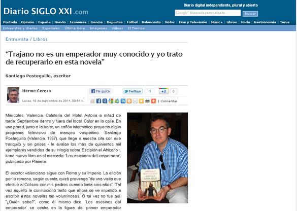 Santiago Posteguillo entrevistado por el Diario Siglo XXI