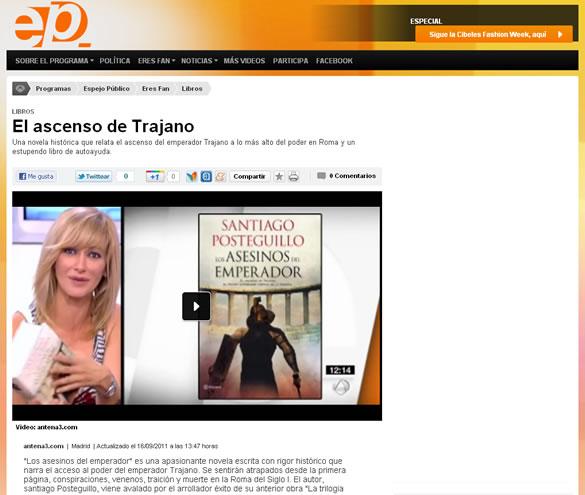 """Susana Griso recomienda en Antena 3 TV """"Los asesinos del emperador"""""""